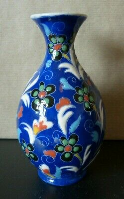 Vintage Blue And White Ceramic Vase, Very Bright Colours, Flowers, Marked NTSP • 2.90£