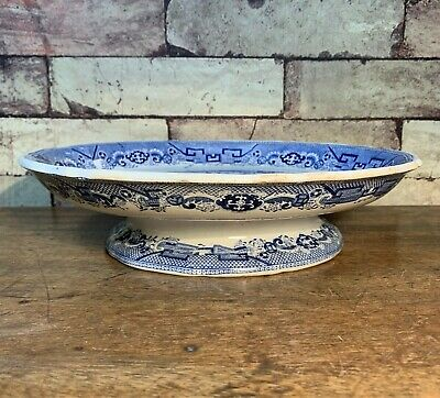 Blue & White Willow Pattern Comport, Cake Stand Or Cheese Dish • 19.50£