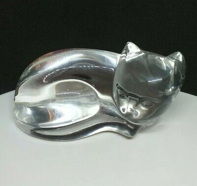 🌷 Vintage Belgian Signed Val St Lambert Clear Crystal Glass Cat Paperweight • 24£