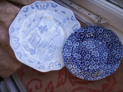 Old Antique Blue White Staffordshire Transfer Ware C.1820 Plate Burleigh Calico  • 11£