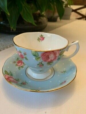 Royal Albert Vintage  Blue Tea Cup & Saucer Decorated White Polka Dots And Roses • 14.99£
