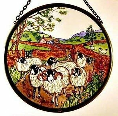 Decorative Winged Heart Hand Painted Stained Glass Roundel - Sheep With Shepherd • 26£