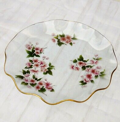 "Pilkington ""Chance  Glass Plate Fluted Edge Floral Blossom 1975 Mid Century • 12£"