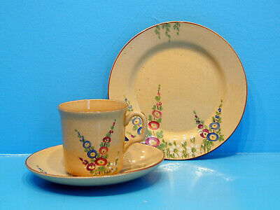1930's W.H.Goss Cottage Pottery Trio - Hollyhocks,  East West Homes Best  On Cup • 24.99£