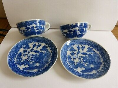 Miniature Willow Pattern Cups And Saucers, Unbranded, Transfer Not Perfect • 3£