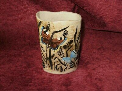 Betty Bettelly Studio Pottery Butterfly Decorated Vase • 4.99£