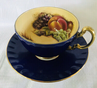 Aynsley Orchard Gold Blue Cup And Saucer  • 29.95£