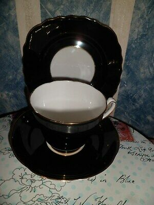 ADDERLEY  Floral  Black & Gold Gilt Bone China Trio (Cup, Saucer & Side Plate) • 5.50£