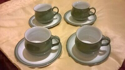 Denby Regency Green 4 X Cups & Saucers In Lovely Condition Tea Coffee • 16£