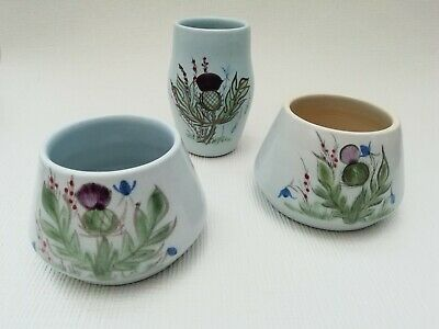 Buchan Stoneware Pottery Thistle Small Vase & 2 Sugar Bowls / Preserve Pots • 17.99£
