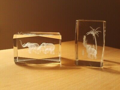 X2 Elephant 3D Laser Etched Crystal Glass Cube Paperweight Block. • 9.99£
