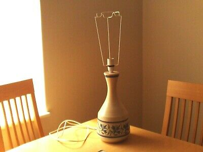 Vintage Retro Large Purbeck Pottery Hand Painted Floral Design Table Lamp. • 24.99£