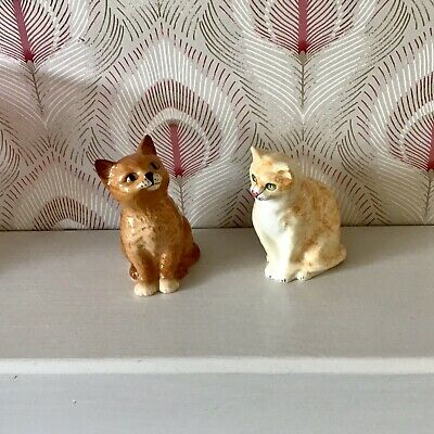 Two Sitting Ginger Cat Figures - Royal Doulton + ?  - Vintage - 4  Hand-painted • 13.99£
