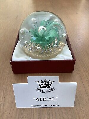 Royal Crest Handmade Glass Large Paperweight With Box And Name Card  Aerial  • 4.99£