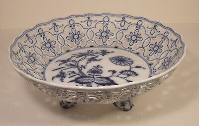 Meissen Blue Onion Reticulated Dolphin Footed Bowl Second Quality A/F • 49.99£