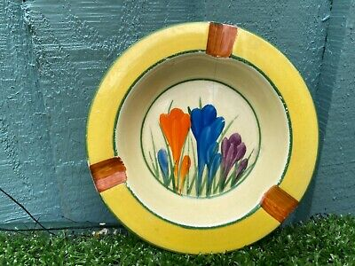 CLARICE CLIFF BIZARRE ART DECO HAND PAINTED CROCUS PATTERNED ASHTRAY C1920/30s • 56£