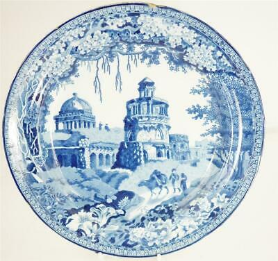 C1820 Antique Blue & White Pearlware Rogers Monopteros Dinner Plate • 34.99£