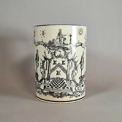 English Creamware Masonic Transfer Printed Mug, Early 19th Century • 480£
