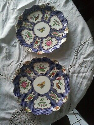 Pair Early Coalport Scalloped Plates Hand Painted  • 5.19£
