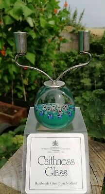 Caithness Rare Vintage Double Crystal Glass Candle Holder Paperweight • 25£