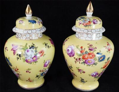 Pair Antique Dresden Helena Wolfsohn Porcelain Jars Vases & Covers Yellow • 99.99£