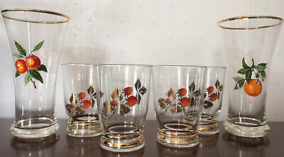 RETRO 1960's DRINKING GLASSES. VINTAGE STRAWBERRY & FRUITS LOVELY CONDITION • 4.99£