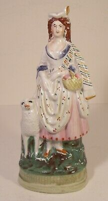 Staffordshire Figure 19th Century Girl With Sheep • 14.99£