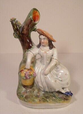 Staffordshire Figure 19th Century Girl With Basket • 14.99£