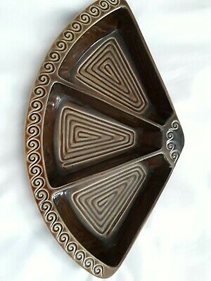 Rare Sylvac Totem Divided 3 Sections Crescent Shape Dish - Brown - Excellent • 19.95£