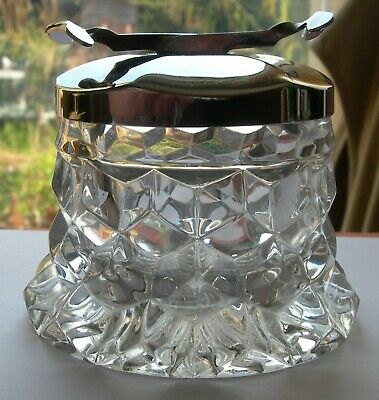 Vintage Fostoria Cube Pattern Sugar Container With Chrome Lid & Built In Tongs • 39.50£