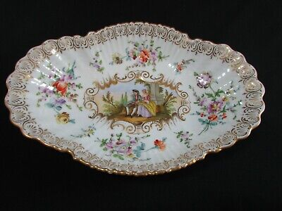 Large Antique Hand Painted Helena Wolfsohn Dresden Oval Dish C.1870-90s • 125£