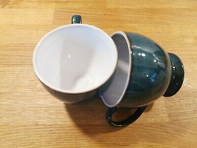 Denby Cappuccino Coffee Mug Cup X 2 Imperial Blue Breakfast Tea Stoneware • 9.99£
