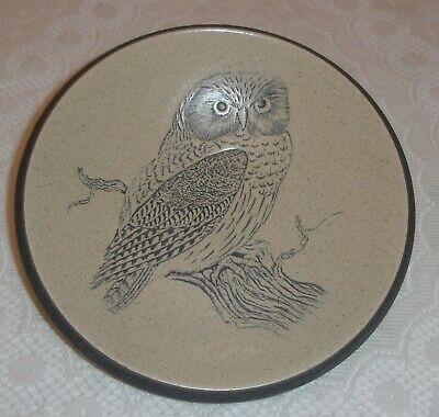VINTAGE PURBECK POTTERY EMBOSSED GREY BIRD OWL DISH BOWL PLATE-superb Condition • 0.99£
