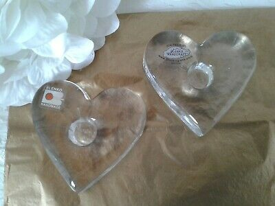 2 SIGNED Richard Blenko 2000 Clear Glass Hearts Candle Holders W/ Labels  • 11.45£