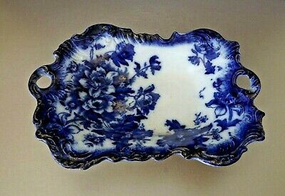 ANTIQUE T RATHBONE & CO FLOW BLUE RECTANGLE DISH ~ OXFORD PATTERN ~ C1898-1924 • 30£