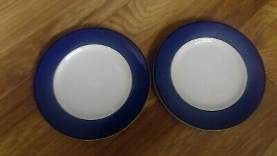 2 X PAGNOSSIN IRONSTONE 8  SIDE PLATES WITH BLUE EDGING  • 0.99£