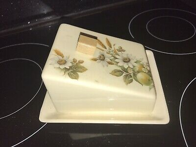 Vintage Old Brixham Pottery Dawlish Butter Cheese Dish And Lid Floral • 9.99£