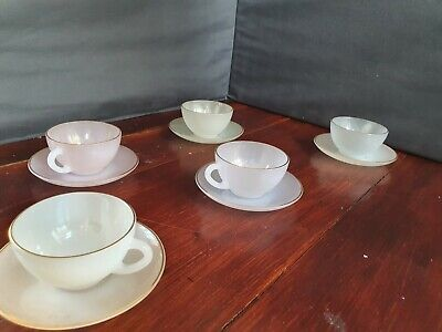 Vintage Arcopal France Harlequin Cups And Saucers X5 • 25£