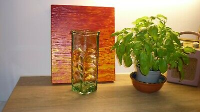 Vintage Recycled Green Tinged Heavy Glass Tall Square Vase 22 Cm High • 6.99£