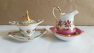 Regal Porcelain Company Miniature Pink Jug And Basin, Gold Tureen And Plate. 7cm • 3.10£