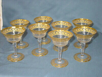 St. Louis Crystal Callot Gold Etched Champagne Sherbert Glasses Set Of 8 • 597.86£
