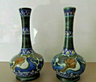 Pair Of Gouda Pottery Vases ~ Crocus Pattern Signed G.h. • 60£