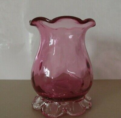 Vintage Pink Ruby Glass Vase With Clear Frill Base • 16£