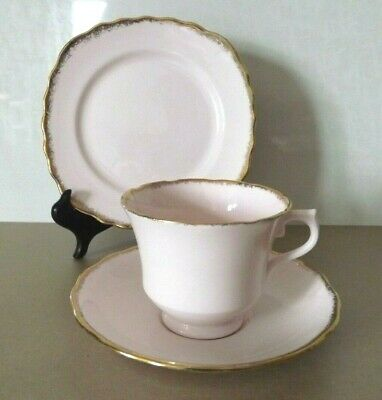 Vintage Royal Vale Bone China Tea Cup Saucer And Side Plate Trio ~ Pink & Gold • 15£