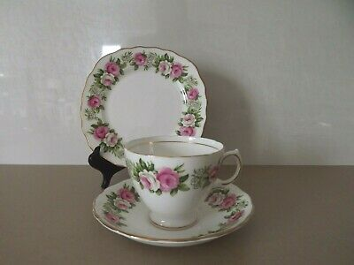 Vintage Colclough Enchantment Pink Rose Tea Cup Saucer And Side Plate Trio 7132 • 15£