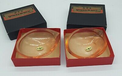 Vintage Pair KOF Koshida Pale Pink Glass Dishes - Marked 'Foreign' • 14£