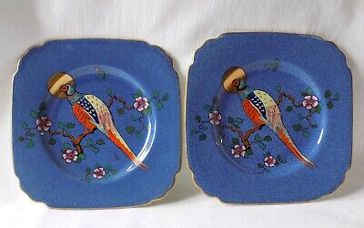 2 Antique George Jones, Cresent China, Square Side Plates. Hand Painted Pheasant • 14.99£