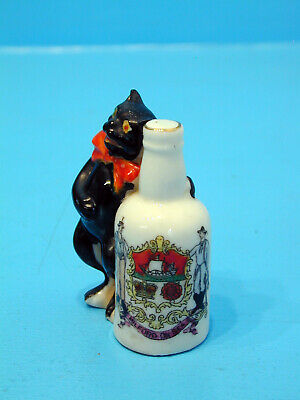Arcadian Crested China Black Cat Standing Next To Beer Bottle - Milford-on-Sea • 24.99£