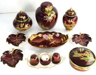 Grouping Carlton Ware Rouge Royale Pots Jars Trays Spider Web • 149.99£
