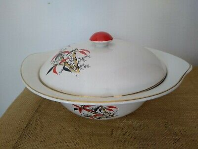 "Vintage Barratts ""Delphatic China"" Red Bamboo Pattern Lidded Serving Tureen • 15£"